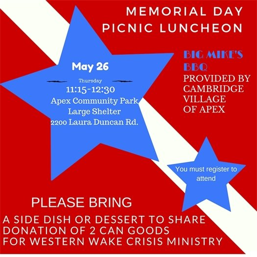 Memorial Day picnic luncheon