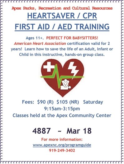 AHA Heartsaver CPR / First Aid Class in Apex