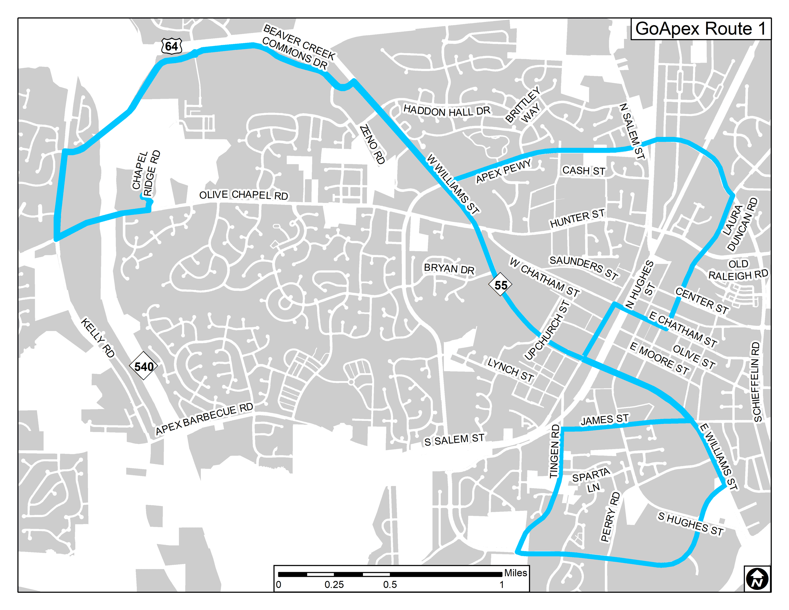 GoApex Route 1 website map