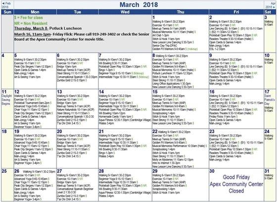 March Senior Adult Activity Calendar