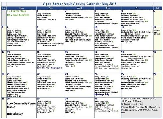 May Senior Activity Calendar